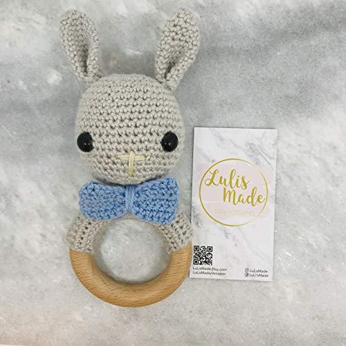 Mordedor crochet bebé sonajero crochet mordedor madera agarre juguete bebé sonajero regalo para nacimiento o bautizo niño y niña (conejito) (R2104411)