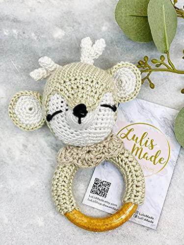 Mordedor crochet bebé sonajero crochet mordedor madera agarre juguete bebé sonajero regalo para nacimiento o bautizo niño y niña (elefante F001E) (F002R)