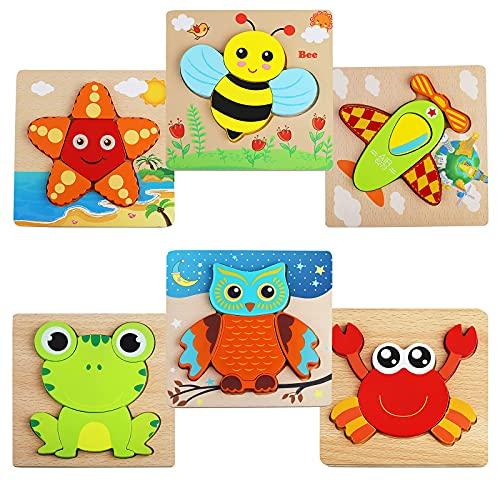 Rompecabezas de madera de 6 piezas, rompecabezas de madera 3D para niños, rompecabezas de madera, rompecabezas de madera, juguetes educativos, juguetes educativos de regalo para niños y niñas