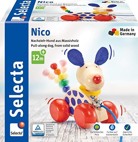 Selecta 62026 Nico, perro de arrastre, juguete para empujar y tirar de madera, 12 cm