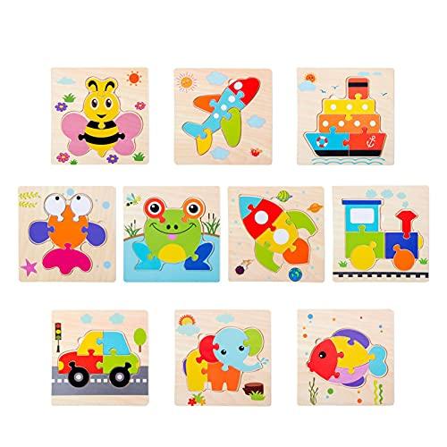 Chuanfeng rompecabezas apilable de madera desde 1 año, rompecabezas de educación temprana para niños, dibujos animados de animales, juguetes educativos, rompecabezas de animales en 3D, beneficio Montessori, juego mental, juguetes educativos, rompecabezas de madera para bebés