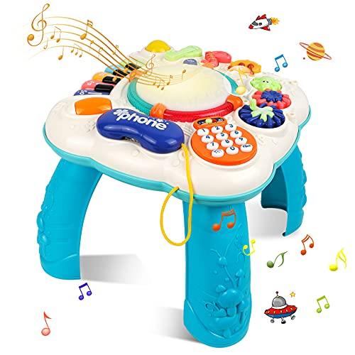 STOTOY - Mesa de juego musical para bebés, mesa de actividades musicales para niños pequeños, 36 meses + mesa de aprendizaje musical para niños, juguetes para bebés para la educación temprana, regalo para niños y niñas