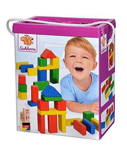 Eichhorn 50 bloques de construcción de madera de colores en la caja de almacenamiento con cordón y tapa de clasificación, para niños a partir de 1 año