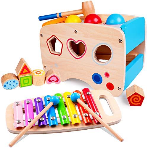 Rolimate xilófono y juego de martillo juguete de 1 año, 3 en 1 Montessori educativo preescolar aprendizaje musical juguete de madera juguete de arrastre regalo de cumpleaños para niños bebé 1 2 3 años