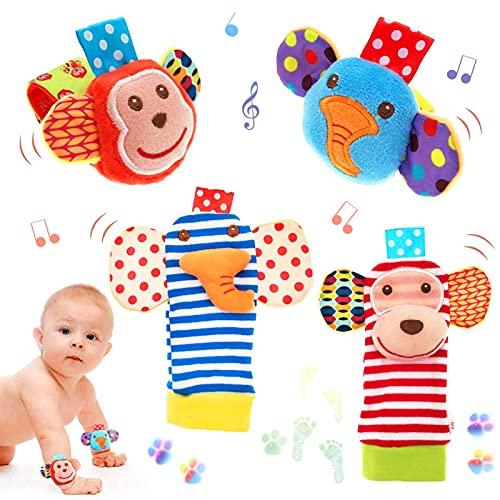 Juego de sonajero de juguete de muñeca, 4 piezas de sonajero de animales de dibujos animados, juguete de felpa para niños pequeños, sonajero de muñeca para bebé, sonajero para bebé, sonajero para bebé, sonajero para pies y muñeca