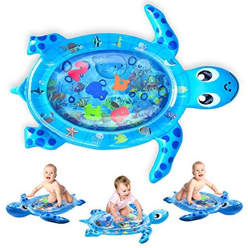 Alfombrilla de agua para bebés, sin BPA, Kaome, juguetes grandes para bebés de 3 a 6 9 meses, alfombrilla inflable para jugar con tortugas, alfombrilla para el tiempo boca abajo del bebé para el desarrollo infantil temprano (76 x 48 cm)