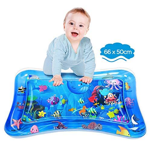 Dusor tapete de agua para bebé, tapete de juego de agua sin BPA, juguetes para bebés de 3 a 6 9 meses, tapete inflable para el tiempo boca abajo, actividades divertidas para estimular el crecimiento de su bebé, juguete para niños océano (66 x 50 cm)