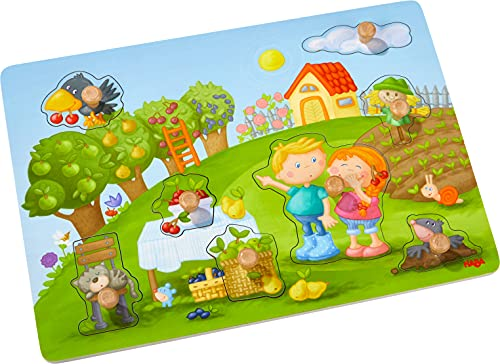 HABA 304430 - Rompecabezas de agarre de huerto, rompecabezas de madera de 8 piezas con motivos naturales y botones de madera grandes y fáciles de agarrar, juguetes de madera a partir de los 12 meses