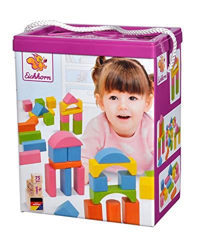 Eichhorn 100088011 75 bloques de construcción de madera de color pastel en caja de almacenamiento y tapa de clasificación, madera de haya certificada FSC 1, juguetes de habilidades motoras adecuados para niños a partir de 1 año