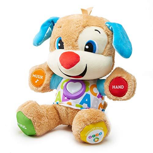 Fisher-Price FPM50: aprendizaje de divertidos juguetes y peluches para cachorros, juguetes educativos con canciones y frases, niveles que crecen con el niño, juguetes a partir de los 6 meses, en alemán