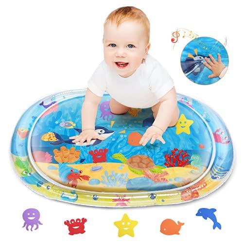 Lupantte - Alfombrilla de agua para bebé, colchoneta de agua para jugar, que hace ruidos divertidos, juguetes para bebés de 0 a 12 meses, niños y niñas, alfombrilla de agua para bebés, regalo para bebés