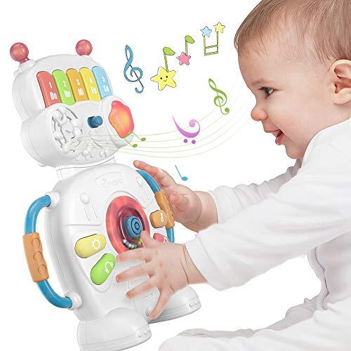 TUMAMA robot de juguete electrónico musical para bebés durante 1 año, instrumentos de piano, regalos de juguetes sensoriales para bebés, niños pequeños, niños, niñas y juegos de cumpleaños