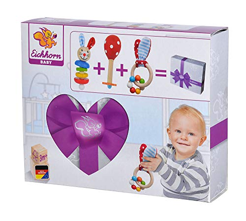 Eichhorn 100017045 - Juego de iniciación / regalo para bebé con maraca, juguete de agarre con sonido y juguete de agarre con motivo de conejo, 3 piezas, a partir de 3 meses