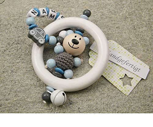 Juguete para agarrar bebé sonajero mordedor con nombre - juguete educativo individual de madera como regalo para bautizo de nacimiento - motivo de niño oso y coche en gris