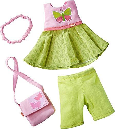 HABA 304253 - Conjunto de ropa de mariposas, conjunto de vestido, pantalón, bolso y cinta para el pelo, accesorios de muñeca para todas las muñecas HABA de 30 cm, a partir de los 18 meses