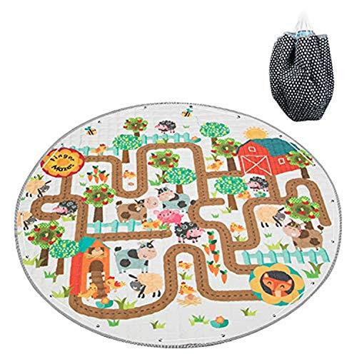 Duless bolsa infantil ordenada alfombra infantil redonda, alfombra de juego para bebés, alfombra infantil, alfombra de juego de algodón antideslizante para habitaciones de niños