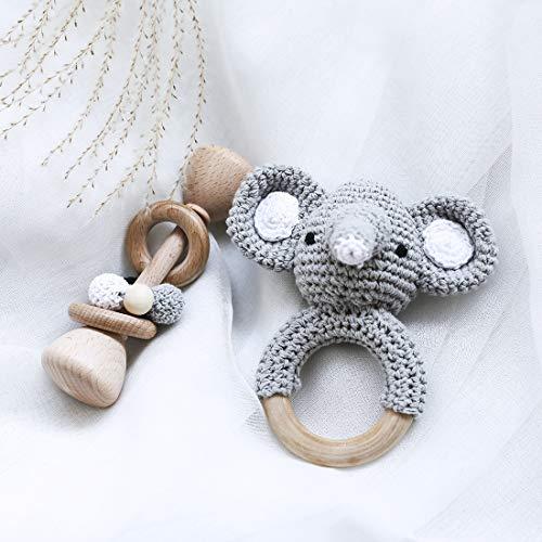Hagamos el paquete clásico sonajero de madera + juego de anillos de sonajero de mordida con patrón de elefante de ganchillo juguetes Montessori regalo para bebé recién nacido - gris