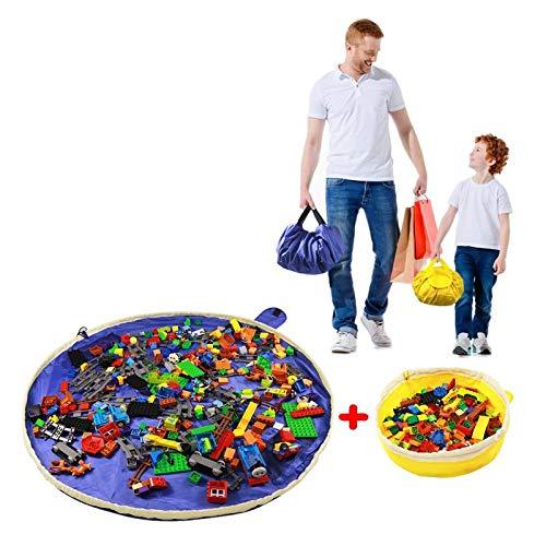 SUMBABO Saco de almacenamiento de juguetes para Lego - Saco ordenado de juguetes, alfombra, manta, saco, alfombrilla de juego, saco de cordón con gorra, como una bolsa de viaje como regalo, 2 piezas = 1 azul grande + 1 amarillo mini