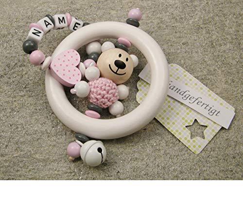 Juguete para agarrar bebé sonajero mordedor con nombre - juguete educativo individual de madera como regalo para bautizo de nacimiento - motivo de niña oso y corazón en rosa
