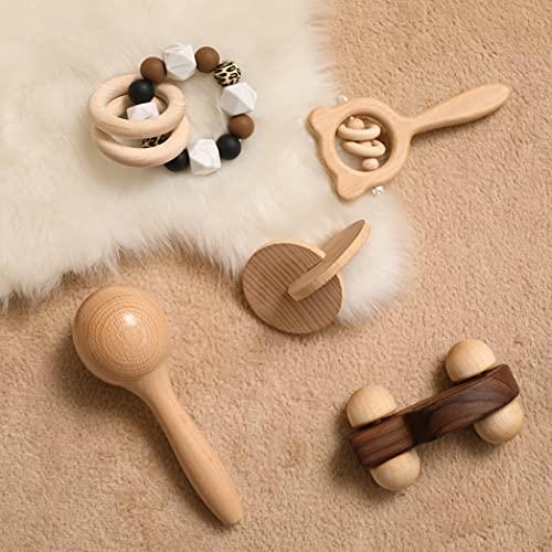 Mamimami Home - Juego de juguetes para bebés, 5 piezas, juguete de agarre de madera para bebés, sonajero de madera Montessori, mordedor para bebés, juguetes educativos tempranos para niños, niñas, regalos para bebés