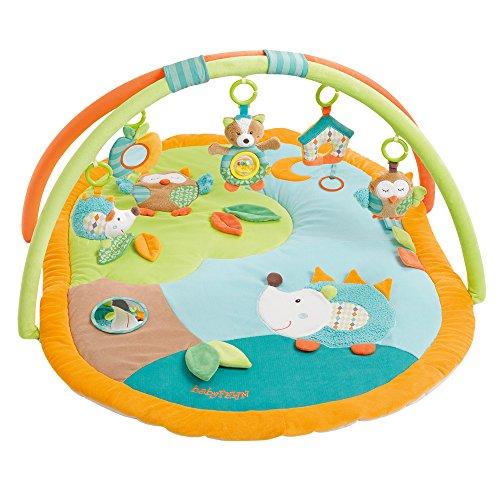 Fehn 071559 manta de actividad 3-D Sleeping Forest / arco de juego con 5 juguetes extraíbles para que los bebés jueguen y se diviertan desde el nacimiento / dimensiones: 80x105cm