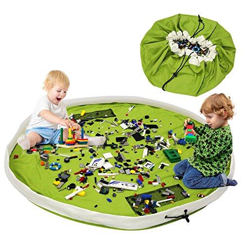 Alfombra de juego y almacenamiento verde