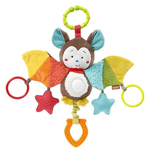 Fehn 067712 Murciélago de juguete para actividades - Juguetes de habilidades motoras para colgar con espejos y anillos para morder, agarrar y hacer ruidos - Para bebés y niños pequeños a partir de 0 meses