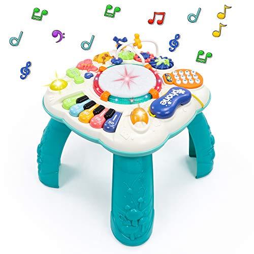 Fajiabao Play Table Juguetes para bebés 6 en 1 - Juguetes para niños de 2 3 4 5 6 años Juguetes para niños Centro de actividades para niños y niñas Juguetes musicales para bebés con luces y canciones Juguetes educativos Regalos