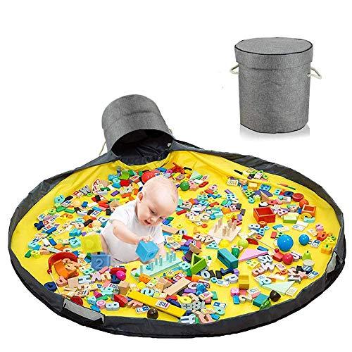 Bolsa de almacenamiento para niños, manta de juego, bolsa de almacenamiento, manta de juego, manta de juego para bebés al aire libre, canasta de almacenamiento de juguetes, almacenamiento de juguetes para niños, almacenamiento de juguetes con tapa (gris1)