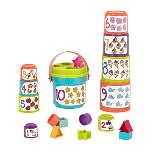 Battat - vasos apilables para clasificar con números y formas - juego de clasificación y apilamiento de formas para niños y bebés a partir de 18 meses (19 piezas)