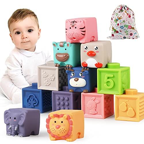 Luclay Soft bloques de construcción para bebés, juguetes de habilidades motoras, cubos apilables, bloques de construcción, juguetes sensoriales Montessori mordedores juguetes de baño para niños pequeños a partir de 6 9 12 meses 1 2 3 4 años