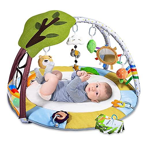 Manta de juego para bebé con 9 juguetes, manta de juego Lupantte con arco de juego para habilidades sensoriales y motoras, manta de juego para bebé con 2 mordedores y bolas, más grande, más gorda, para bebé de 0 a 12 meses