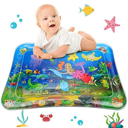 Tapete de agua para bebé, tapete de juego de agua GUBOOM sin BPA, juguetes para bebés 3 6 9 meses, 2021 NUEVO tapete de juego lleno de agua de PVC a prueba de fugas para el entrenamiento del desarrollo sensorial del bebé (sirena)