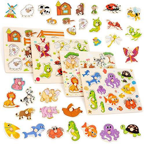Juego de 4 rompecabezas de madera para niños pequeños: granja, animales de la jungla, animales marinos e insectos