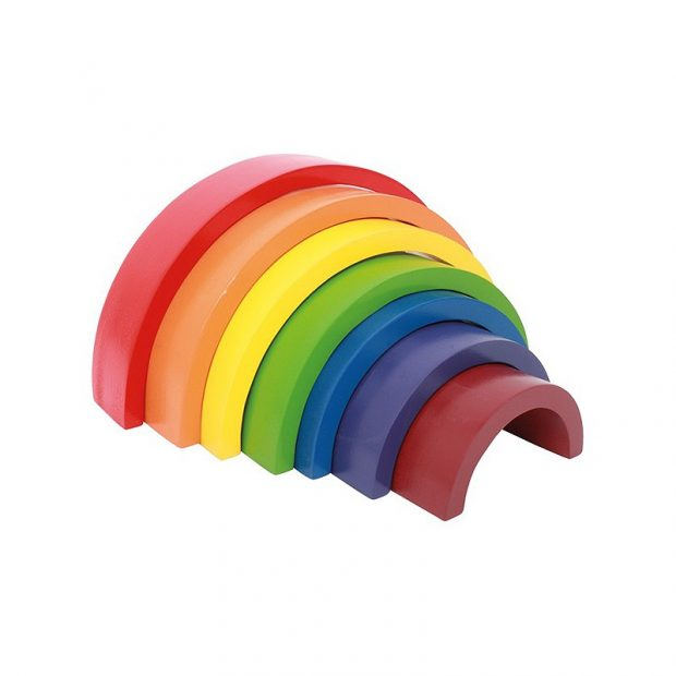 juguete de madera arcoíris