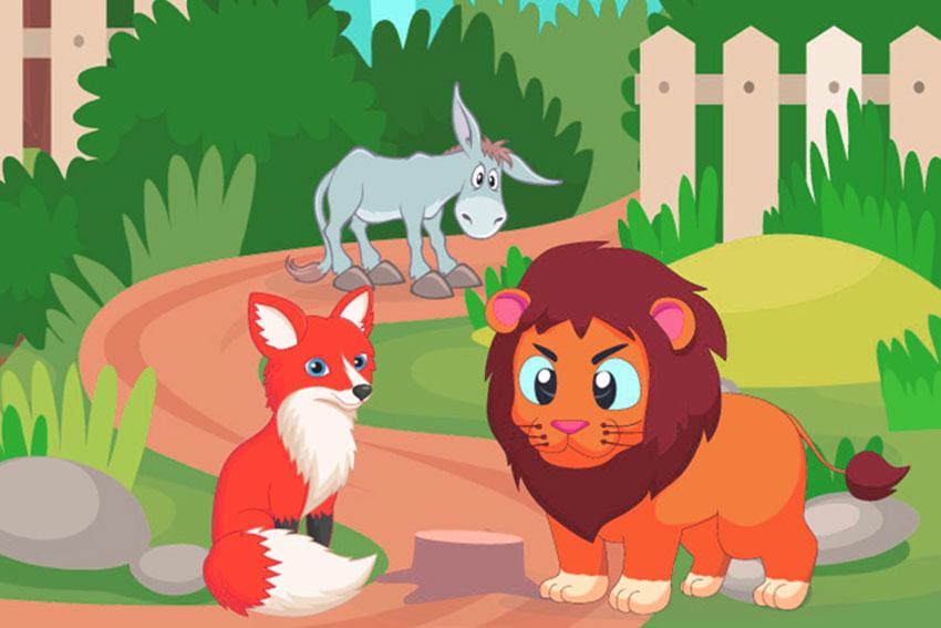 fabula para niños del asno el zorro y el leon