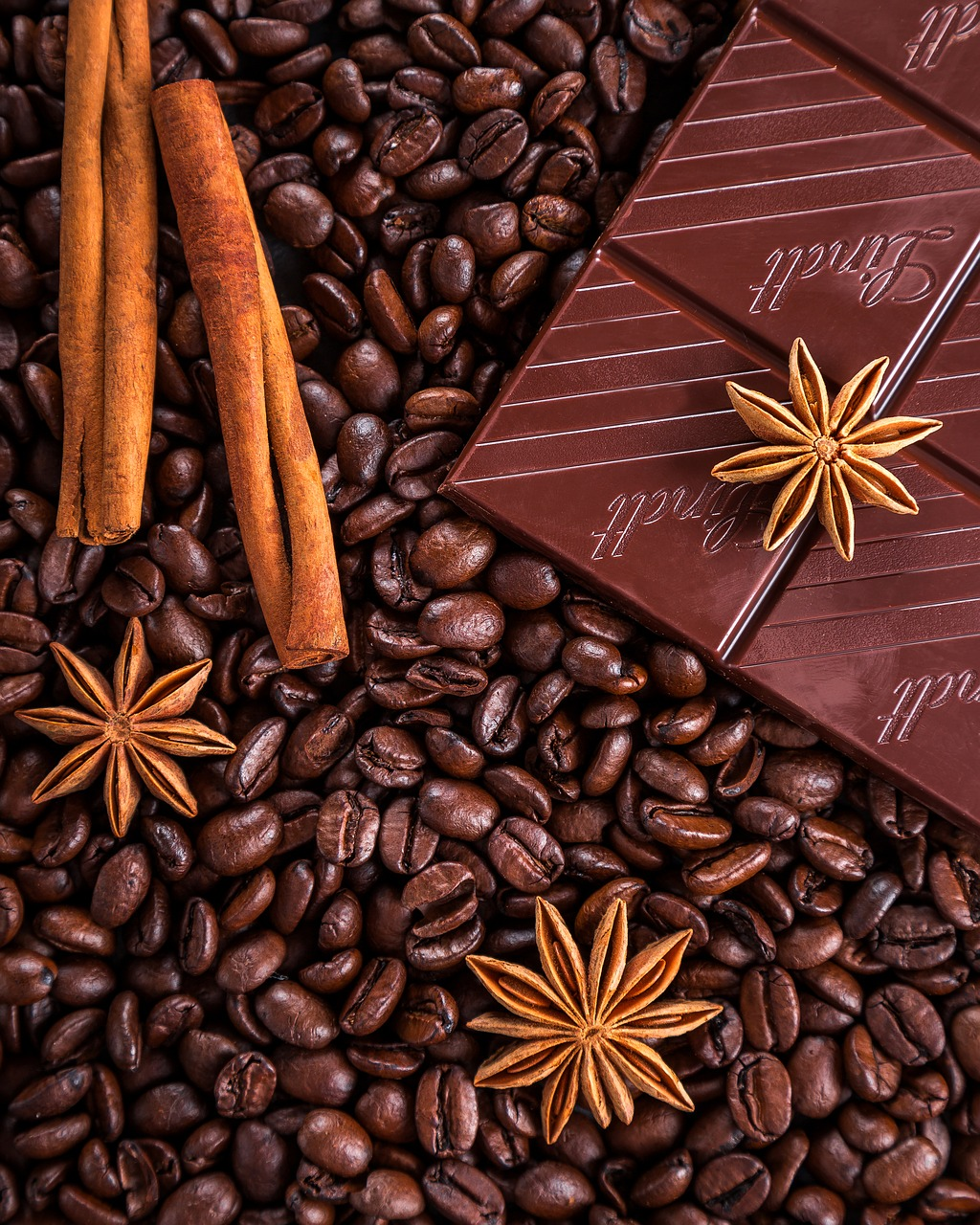 chocolate, cafe y canela
