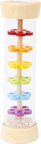 pequeño pie 11567 Rainmaker, fabricado en madera con bolas en óptica de vidrio, instrumento rítmico y sonajero para bebés y niños pequeños
