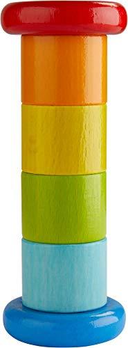 HABA 304817 - Rainmaker Colorido, juguetes para bebés con efecto sonajero en colores del arco iris, juguetes de madera a partir de los 6 meses