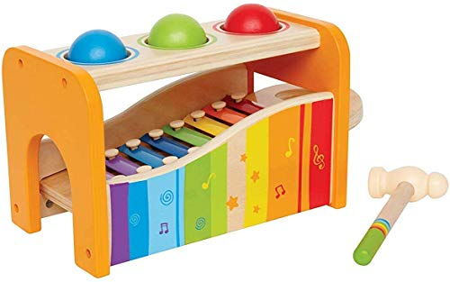 Hape E0305 - juego de xilófono y martillo, banco de golpes, de madera, a partir de los 12 meses