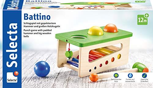 Selecta 62017 Battino, banco de madera para golpear, 22 cm, coloreado