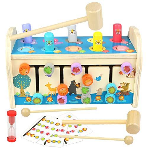 jerryvon juguetes para niños banco de golpeo juguetes Montessori de 3 4 5 años juego de martillo madera 3 en 1 juguete de habilidades motoras con xilófono y laberinto juguete de madera preescolar juego educativo regalo para niños