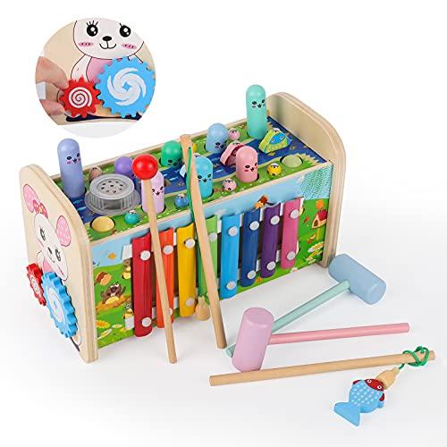 Rabing Knocking bench con reproductor de música, 7 en 1 xilófono y juego de martillo, Montessori educativo preescolar aprendizaje musical juguete de madera regalo de cumpleaños para niños bebé 1 2 3 años