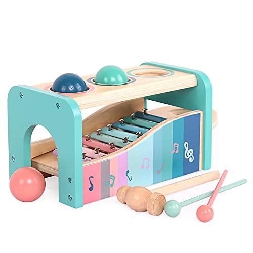 LHZMD juego de impacto hecho de madera - banco de golpes 3 en 1 instrumento musical para bebés, juguetes de habilidades motoras y juguetes educativos - con 3 bolas, martillo + xilófono - a partir de 1 año