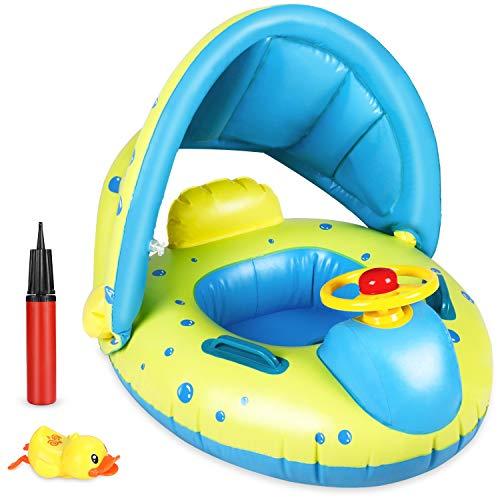 anillo de natación para bebé joylink, ayuda para nadar con capota extraíble, asiento de flotador inflable para natación, gran juguete acuático para niños de 12 a 36 meses