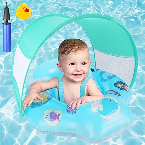Anillo de natación para bebés, ayuda de flotabilidad para bebés inflable joylink con capota extraíble y asiento de natación ajustable, juguetes acuáticos para entrenadores de natación para niños pequeños de 6 a 18 meses