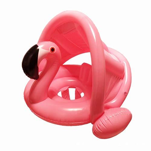 mciskin Flamingo Anillo de natación para bebés Ayuda de natación para bebés Anillo de natación para piscina con protección solar - Aro de natación inflable para niños de 6 meses a 48 meses (Rosa)