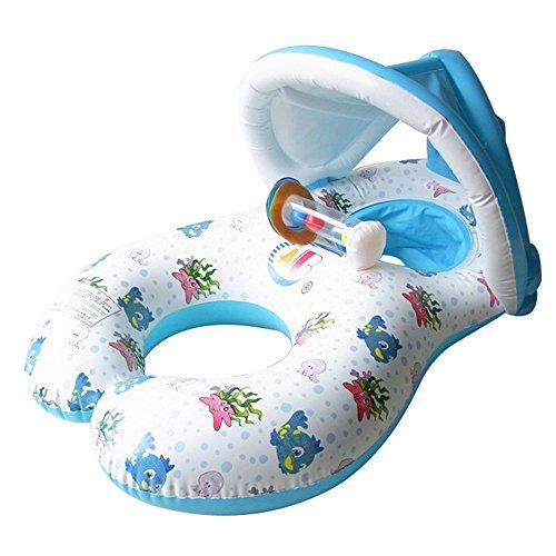HONGCI Anillo de natación doble para ayudar a la flotabilidad Anillo de natación para bebés de 6 meses a 2 años y madre Aros de natación inflables Anillo de natación Piscina Barco Juguetes Protección solar y preparación UV (Blanco)