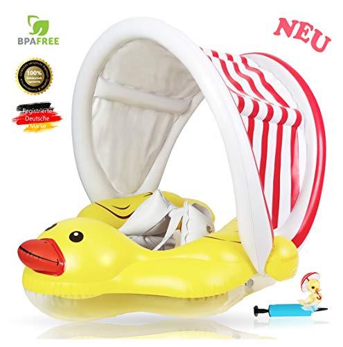 Anillo de natación para bebés EDWEKIN®, ayuda a la flotabilidad para bebés con capota desmontable, entrenador de natación para bebés, anillos de natación para bebés y niños pequeños;  9 meses a 36 meses y 18 kg.