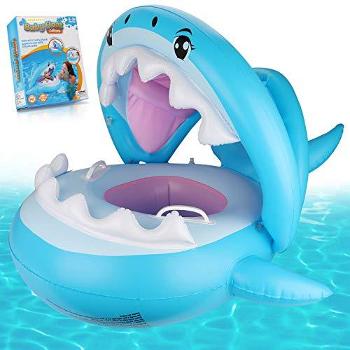 Anillo de natación para bebé Weokeey, asiento de natación para bebé con techo de protección solar Anillo de natación para bebé con campanas en el interior Anillo de natación para niños de 6 a 36 meses